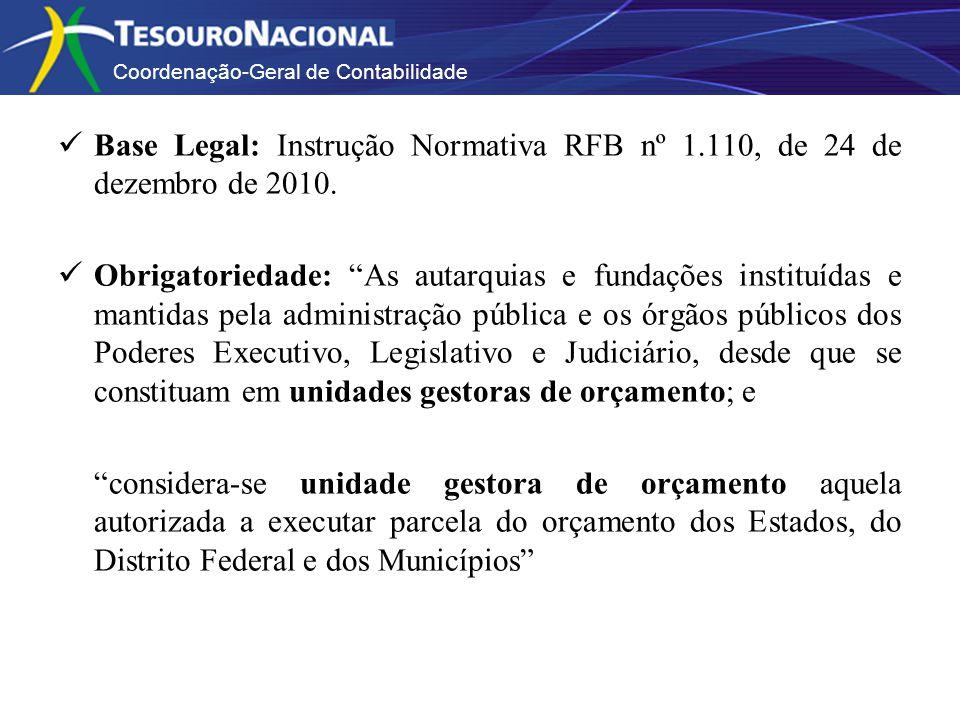Base Legal: Instrução Normativa RFB nº 1.110, de 24 de dezembro de 2010. Obrigatoriedade: As autarquias e fundações instituídas e mantidas pela admini