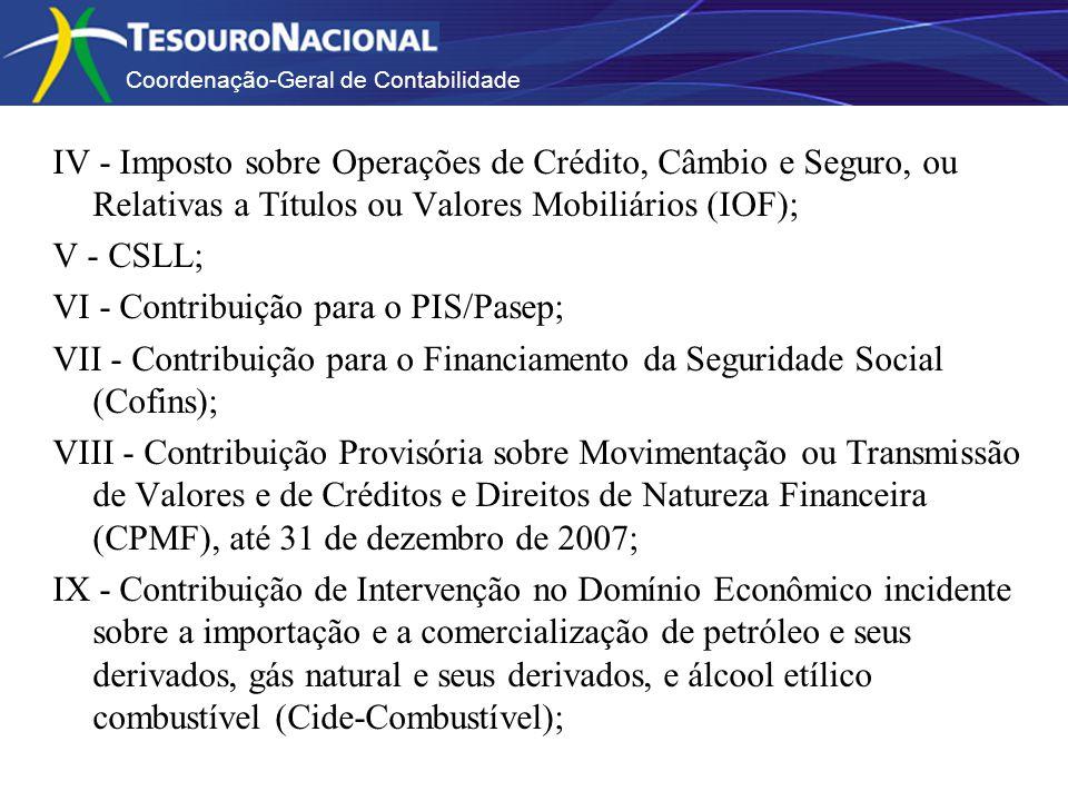 Coordenação-Geral de Contabilidade IV - Imposto sobre Operações de Crédito, Câmbio e Seguro, ou Relativas a Títulos ou Valores Mobiliários (IOF); V - CSLL; VI - Contribuição para o PIS/Pasep; VII - Contribuição para o Financiamento da Seguridade Social (Cofins); VIII - Contribuição Provisória sobre Movimentação ou Transmissão de Valores e de Créditos e Direitos de Natureza Financeira (CPMF), até 31 de dezembro de 2007; IX - Contribuição de Intervenção no Domínio Econômico incidente sobre a importação e a comercialização de petróleo e seus derivados, gás natural e seus derivados, e álcool etílico combustível (Cide-Combustível);