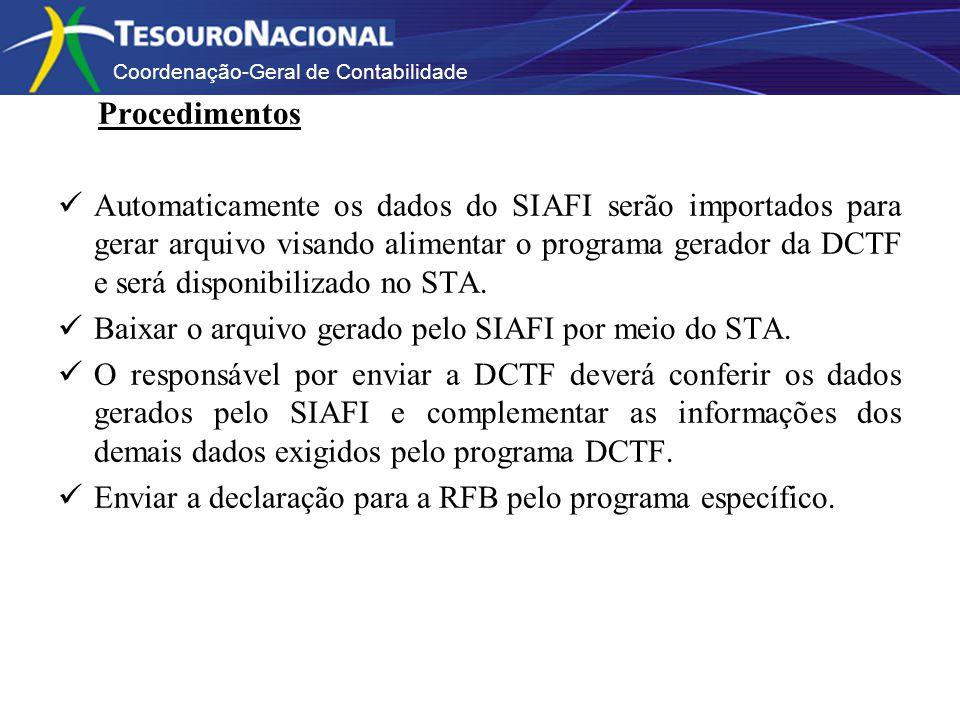 Coordenação-Geral de Contabilidade Procedimentos Automaticamente os dados do SIAFI serão importados para gerar arquivo visando alimentar o programa gerador da DCTF e será disponibilizado no STA.
