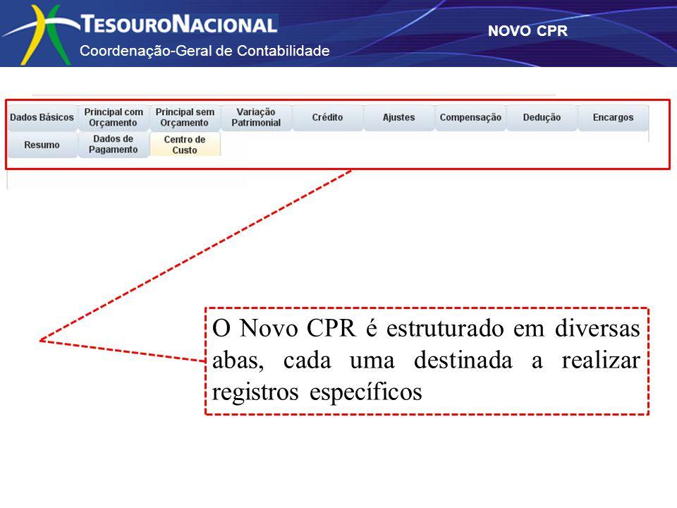 Coordenação-Geral de Contabilidade NOVO CPR O Novo CPR é estruturado em diversas abas, cada uma destinada a realizar registros específicos