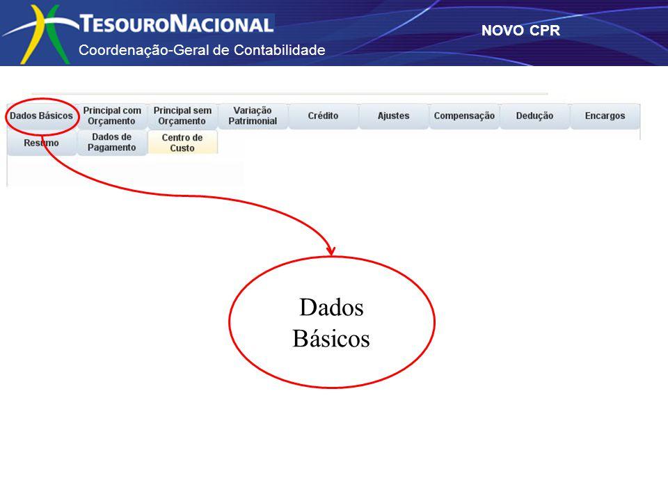 Coordenação-Geral de Contabilidade NOVO CPR Dados Básicos