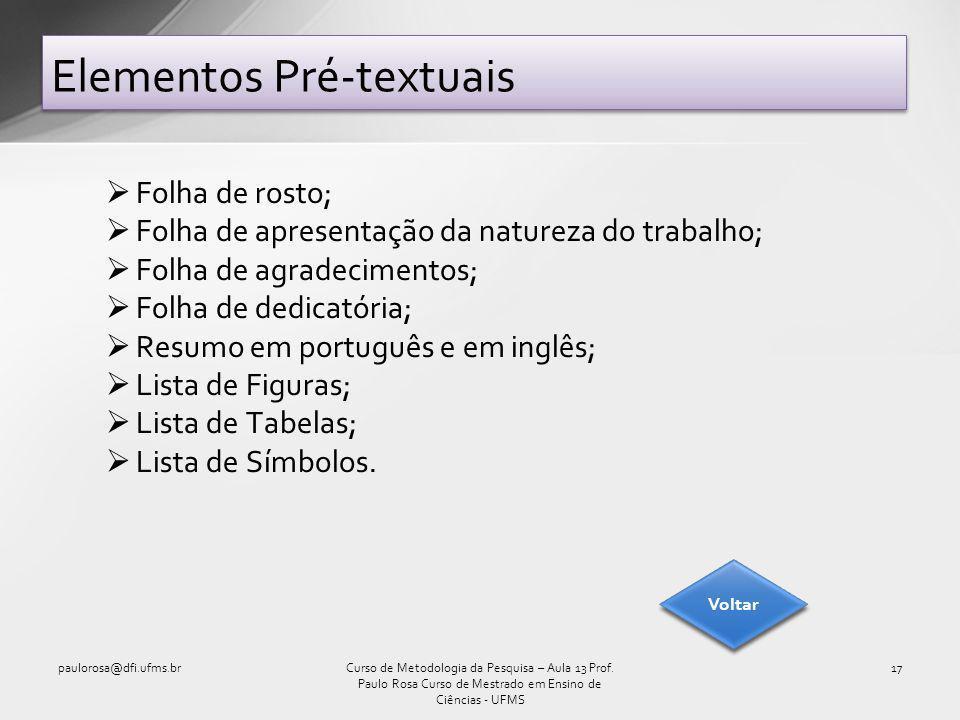 Folha de rosto; Folha de apresentação da natureza do trabalho; Folha de agradecimentos; Folha de dedicatória; Resumo em português e em inglês; Lista de Figuras; Lista de Tabelas; Lista de Símbolos.