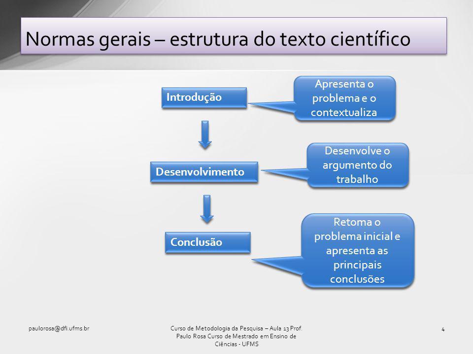 Normas gerais – estrutura do texto científico paulorosa@dfi.ufms.br4Curso de Metodologia da Pesquisa – Aula 13 Prof.