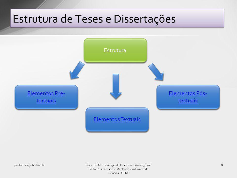 Estrutura de Teses e Dissertações paulorosa@dfi.ufms.br8Curso de Metodologia da Pesquisa – Aula 13 Prof.