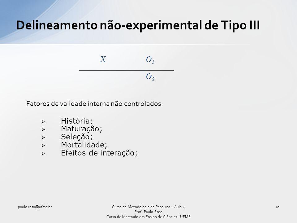 Delineamento não-experimental de Tipo III XO1O1 O2O2 Fatores de validade interna não controlados: História; Maturação; Seleção; Mortalidade; Efeitos d