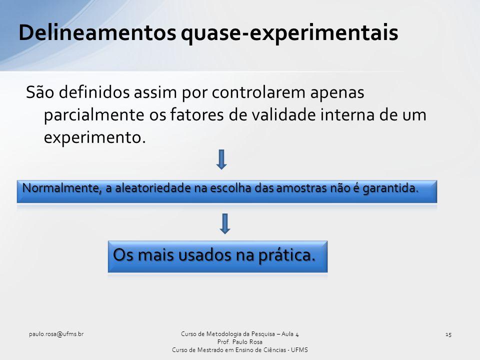 Delineamentos quase-experimentais São definidos assim por controlarem apenas parcialmente os fatores de validade interna de um experimento. Curso de M