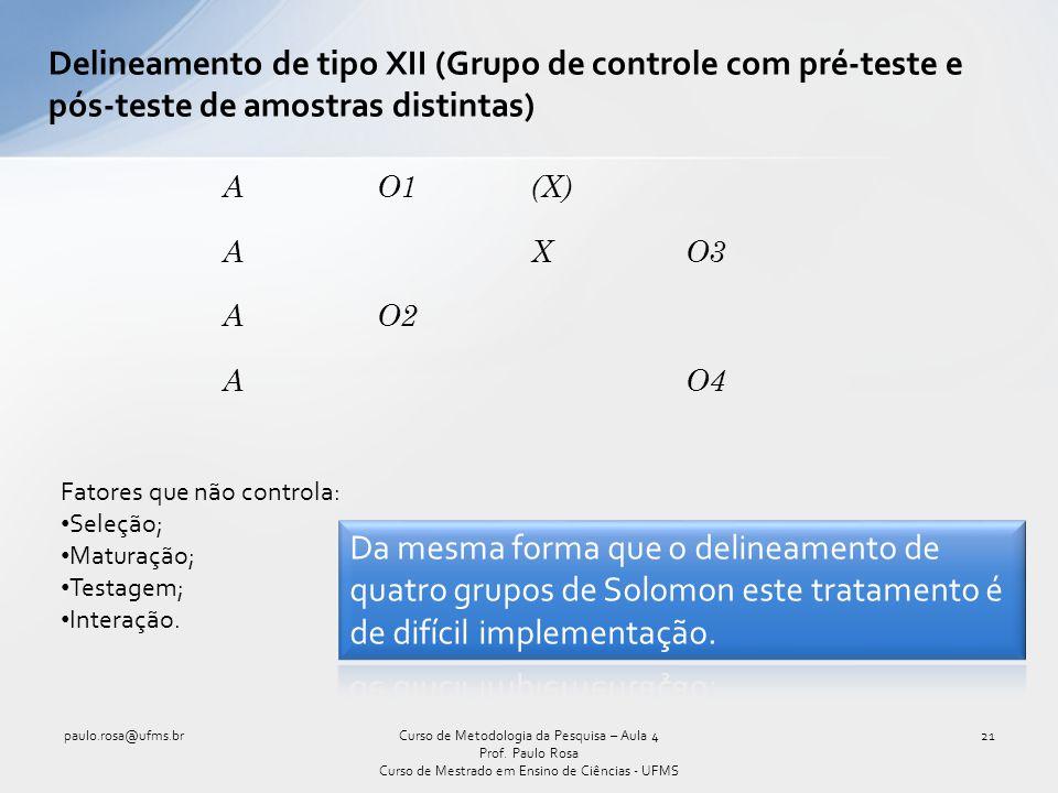 Delineamento de tipo XII (Grupo de controle com pré-teste e pós-teste de amostras distintas) Curso de Metodologia da Pesquisa – Aula 4 Prof. Paulo Ros