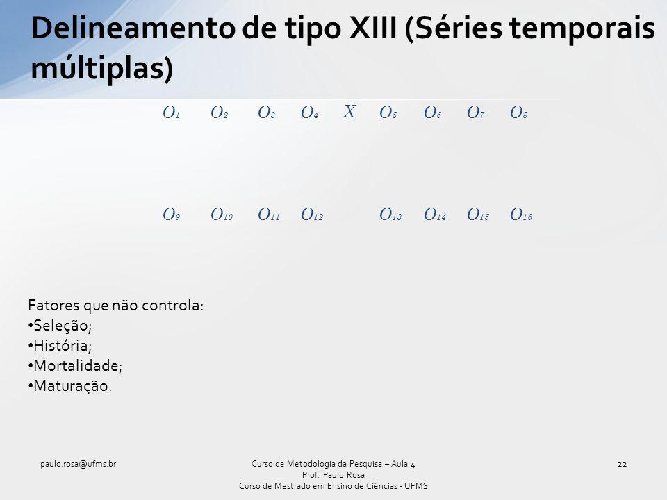 Delineamento de tipo XIII (Séries temporais múltiplas) Curso de Metodologia da Pesquisa – Aula 4 Prof. Paulo Rosa Curso de Mestrado em Ensino de Ciênc