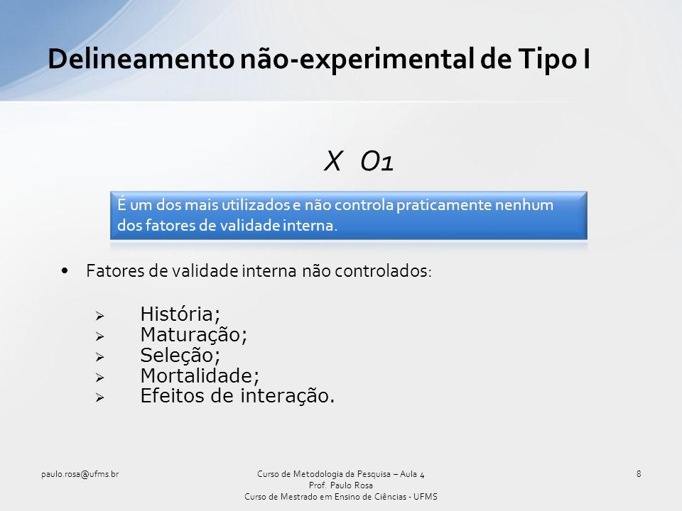 Delineamento não-experimental de Tipo II O1 X O2 Fatores de validade interna não controlados: História; Maturação; Testagem; Instrumentação; Seleção; Mortalidade; Efeitos de interação.