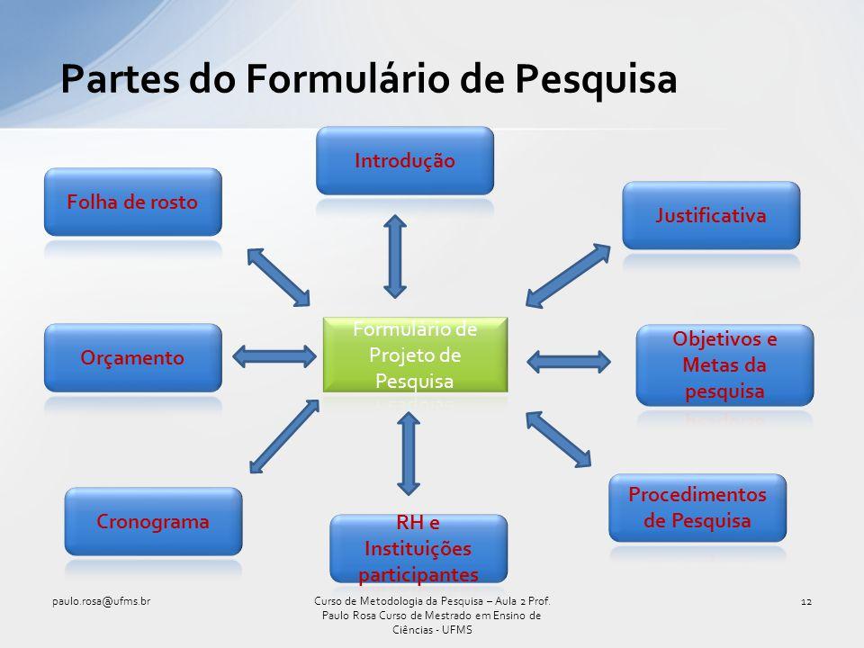 Partes do Formulário de Pesquisa paulo.rosa@ufms.br12Curso de Metodologia da Pesquisa – Aula 2 Prof. Paulo Rosa Curso de Mestrado em Ensino de Ciência
