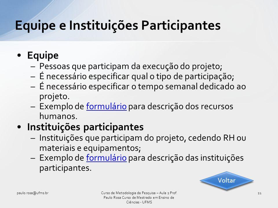 Equipe –Pessoas que participam da execução do projeto; –É necessário especificar qual o tipo de participação; –É necessário especificar o tempo semana