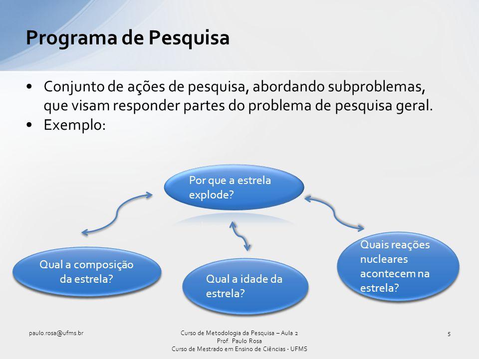 Conjunto de ações de pesquisa, abordando subproblemas, que visam responder partes do problema de pesquisa geral. Exemplo: Programa de Pesquisa paulo.r