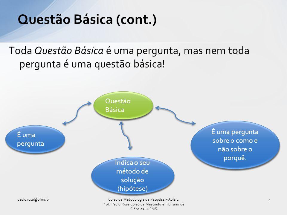 Toda Questão Básica é uma pergunta, mas nem toda pergunta é uma questão básica! Questão Básica (cont.) paulo.rosa@ufms.br7Curso de Metodologia da Pesq