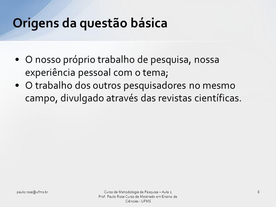 O nosso próprio trabalho de pesquisa, nossa experiência pessoal com o tema; O trabalho dos outros pesquisadores no mesmo campo, divulgado através das