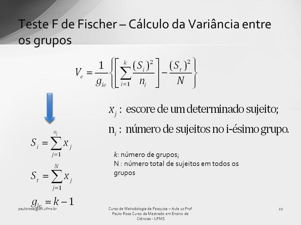 Teste F de Fischer – Cálculo da Variância entre os grupos Curso de Metodologia da Pesquisa – Aula 10 Prof. Paulo Rosa Curso de Mestrado em Ensino de C