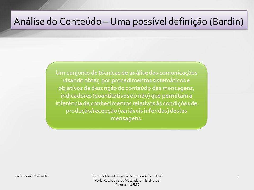 Análise do Conteúdo – Uma possível definição (Bardin) paulorosa@dfi.ufms.br4Curso de Metodologia da Pesquisa – Aula 12 Prof.