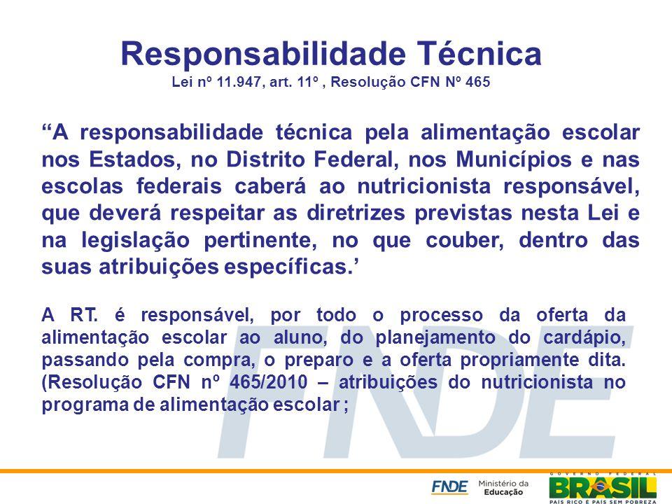 Responsabilidade Técnica Lei nº 11.947, art. 11º, Resolução CFN Nº 465 A responsabilidade técnica pela alimentação escolar nos Estados, no Distrito Fe
