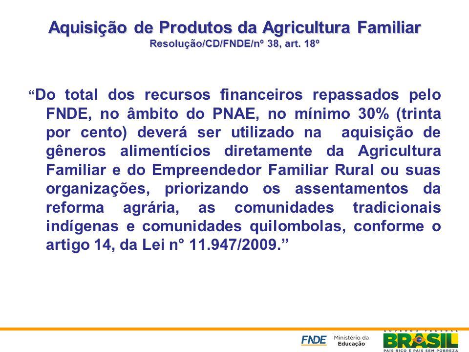 Aquisição de Produtos da Agricultura Familiar Resolução/CD/FNDE/nº 38, art. 18º Do total dos recursos financeiros repassados pelo FNDE, no âmbito do P