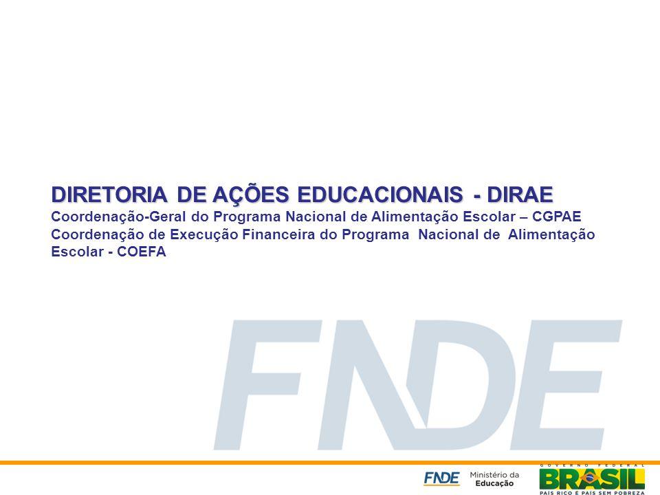 DIRETORIA DE AÇÕES EDUCACIONAIS - DIRAE DIRETORIA DE AÇÕES EDUCACIONAIS - DIRAE Coordenação-Geral do Programa Nacional de Alimentação Escolar – CGPAE