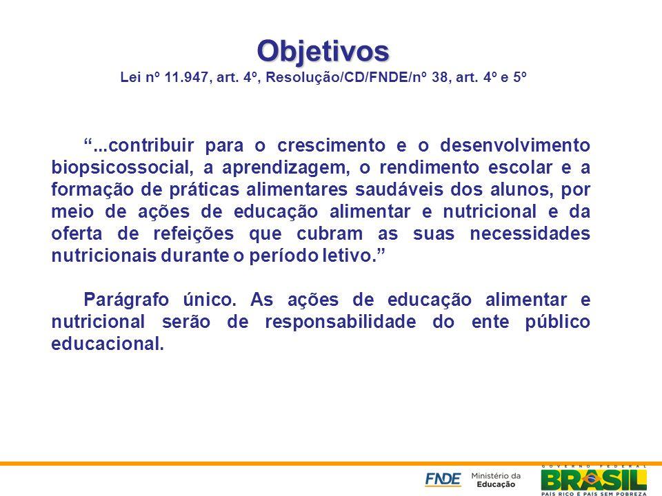 Objetivos Objetivos Lei nº 11.947, art. 4º, Resolução/CD/FNDE/nº 38, art. 4º e 5º...contribuir para o crescimento e o desenvolvimento biopsicossocial,