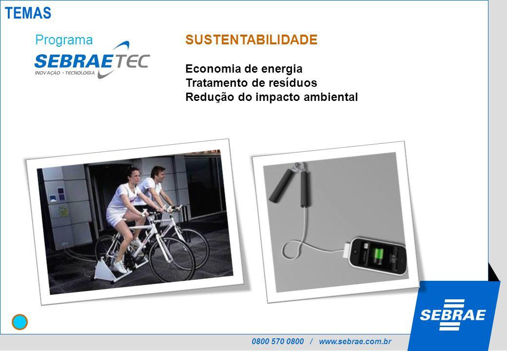 0800 570 0800 / www.sebrae.com.br SUSTENTABILIDADE Economia de energia Tratamento de resíduos Redução do impacto ambiental Programa TEMAS