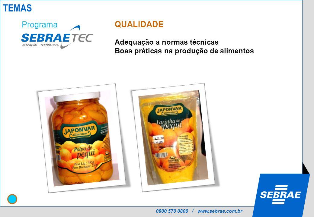 0800 570 0800 / www.sebrae.com.br QUALIDADE Adequação a normas técnicas Boas práticas na produção de alimentos Programa TEMAS