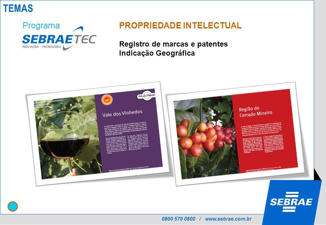 0800 570 0800 / www.sebrae.com.br PROPRIEDADE INTELECTUAL Registro de marcas e patentes Indicação Geográfica Programa TEMAS