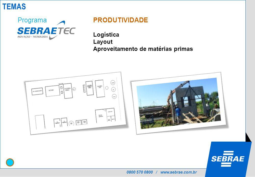 0800 570 0800 / www.sebrae.com.br PRODUTIVIDADE Logística Layout Aproveitamento de matérias primas Programa TEMAS