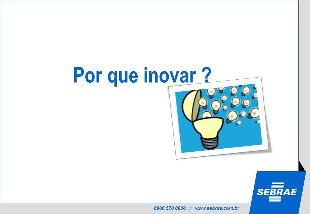0800 570 0800 / www.sebrae.com.br Por que inovar