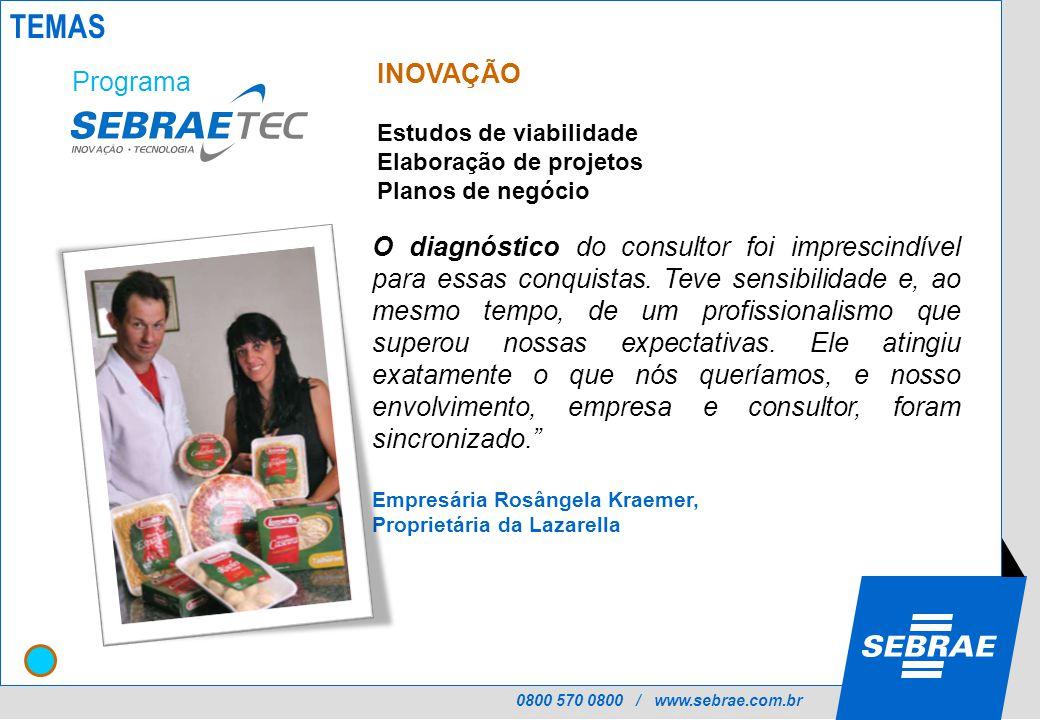 0800 570 0800 / www.sebrae.com.br INOVAÇÃO Estudos de viabilidade Elaboração de projetos Planos de negócio O diagnóstico do consultor foi imprescindível para essas conquistas.