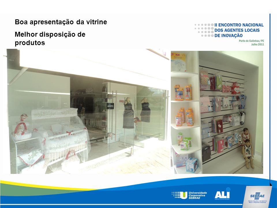 Boa apresentação da vitrine Melhor disposição de produtos