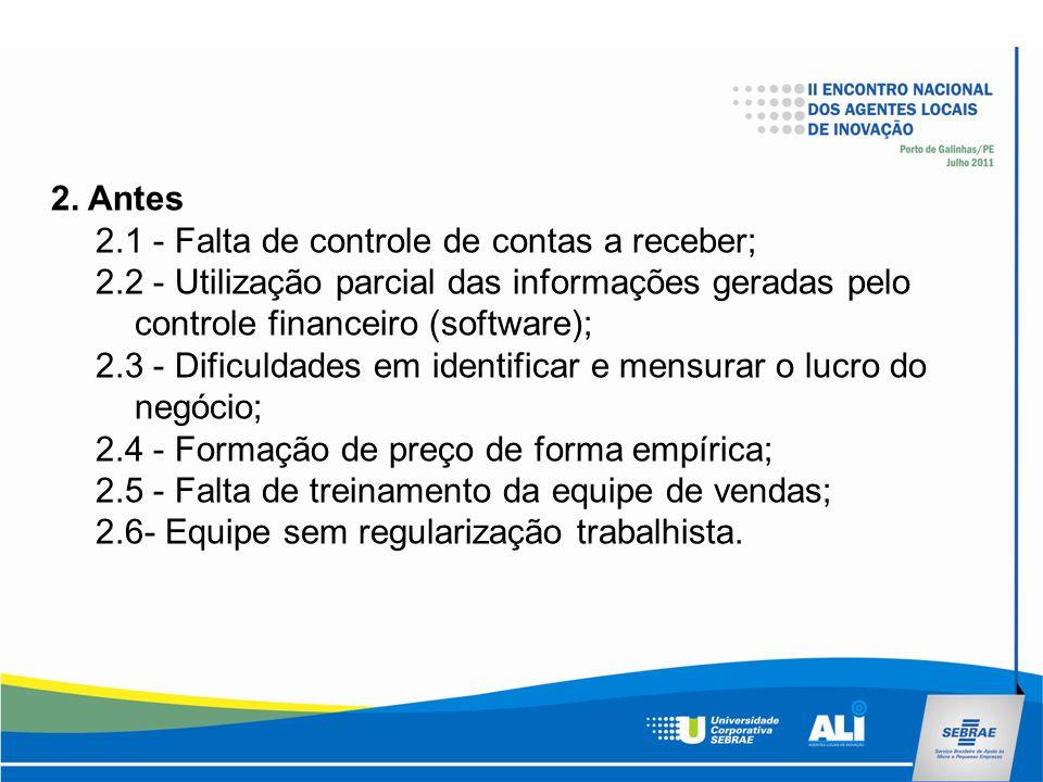 2. Antes 2.1 - Falta de controle de contas a receber; 2.2 - Utilização parcial das informações geradas pelo controle financeiro (software); 2.3 - Difi