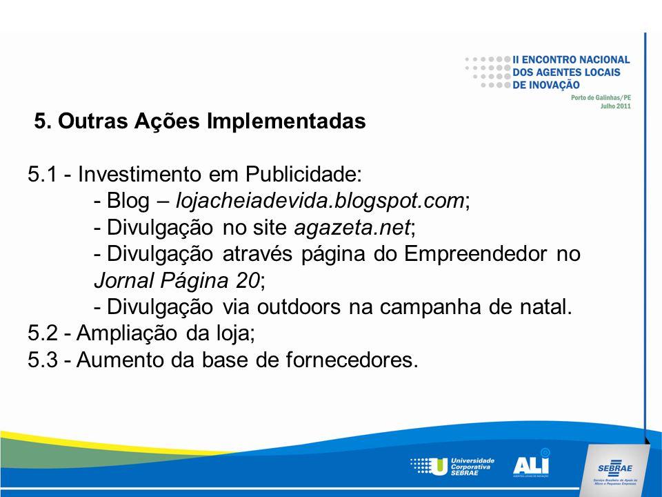 5. Outras Ações Implementadas 5.1 - Investimento em Publicidade: - Blog – lojacheiadevida.blogspot.com; - Divulgação no site agazeta.net; - Divulgação
