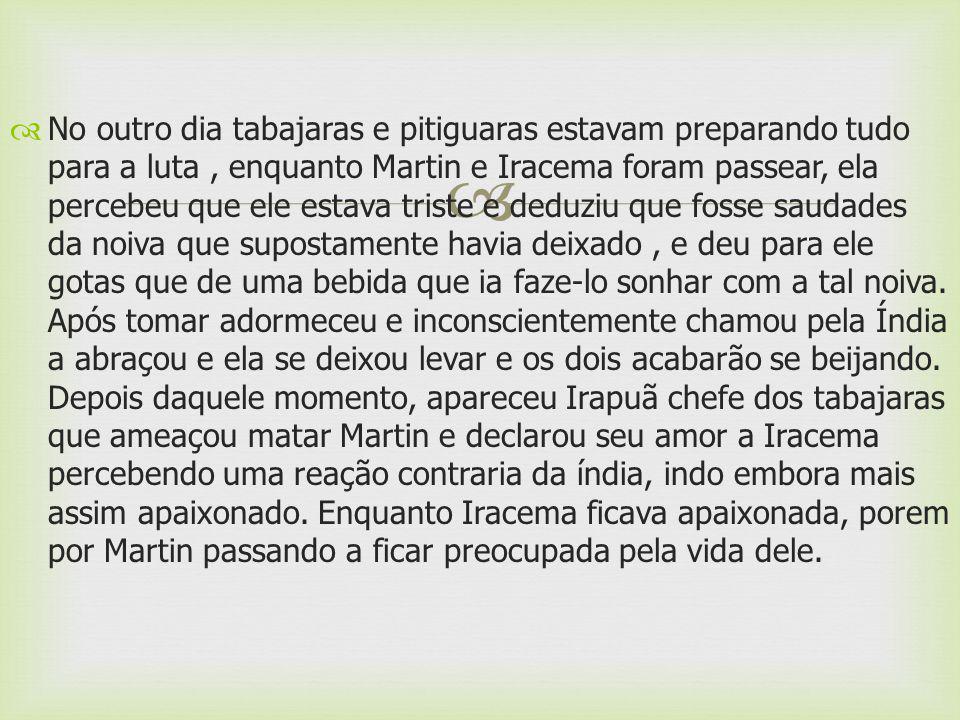 Martin anuncio a Iracema que partiria logo, achando Iracema triste para anima-la falou que ficaria e a amaria, mas Iracema lhe informou que quem se relacionasse com ela morreria, porque, por ser filha do pajé, guardava a segredo da Jurema.