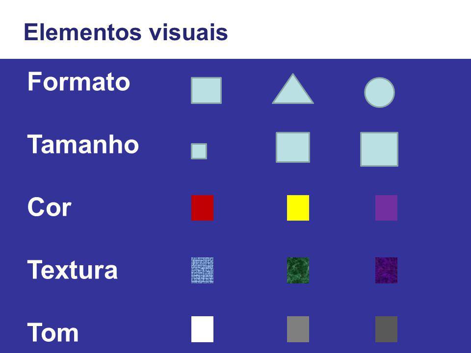 Elementos visuais Formato Tamanho Cor Textura Tom