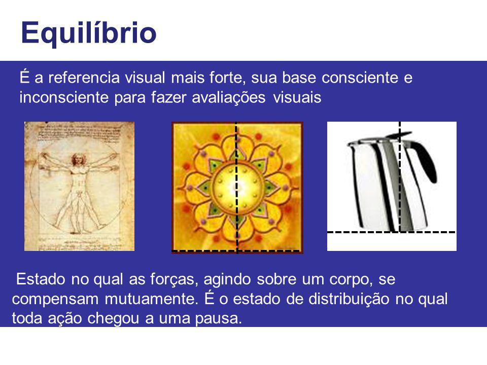 Equilíbrio É a referencia visual mais forte, sua base consciente e inconsciente para fazer avaliações visuais Estado no qual as forças, agindo sobre u