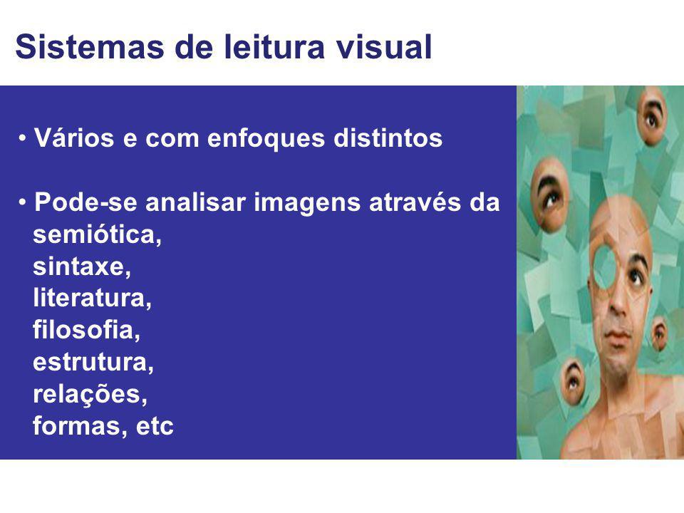 Vários e com enfoques distintos Pode-se analisar imagens através da semiótica, sintaxe, literatura, filosofia, estrutura, relações, formas, etc Sistem