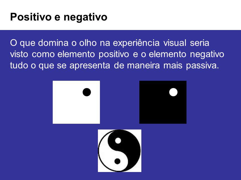 Positivo e negativo O que domina o olho na experiência visual seria visto como elemento positivo e o elemento negativo tudo o que se apresenta de mane