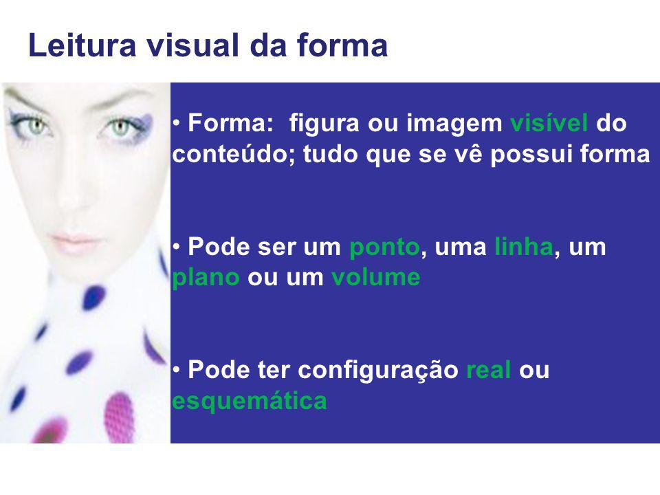 Forma: figura ou imagem visível do conteúdo; tudo que se vê possui forma Pode ser um ponto, uma linha, um plano ou um volume Pode ter configuração rea
