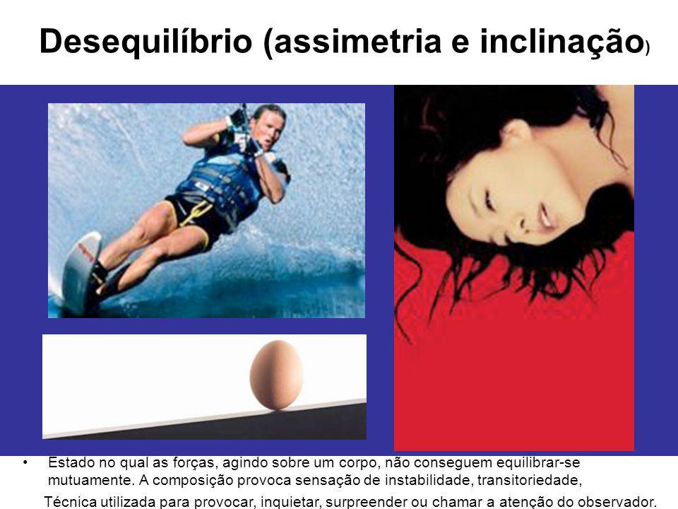 Desequilíbrio (assimetria e inclinação ) Estado no qual as forças, agindo sobre um corpo, não conseguem equilibrar-se mutuamente. A composição provoca