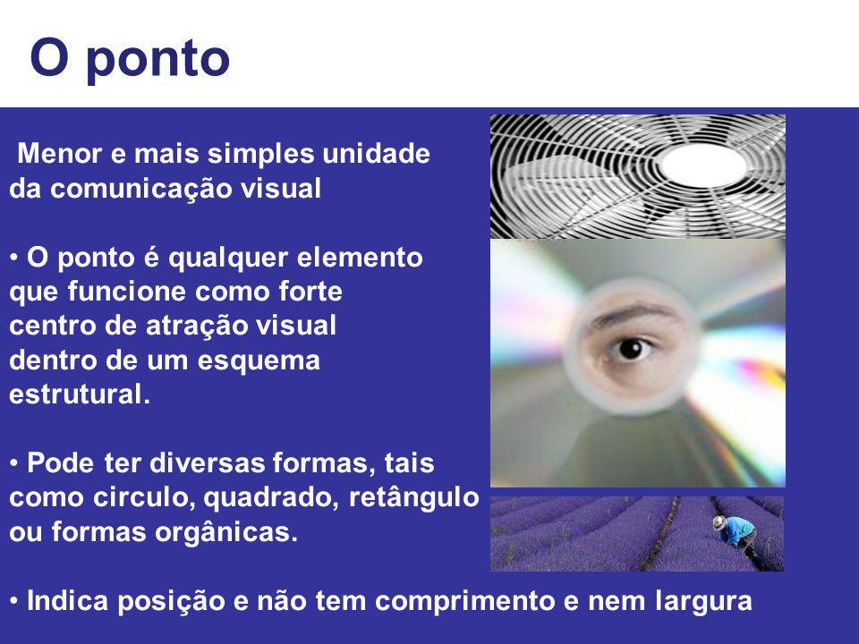 O ponto Menor e mais simples unidade da comunicação visual O ponto é qualquer elemento que funcione como forte centro de atração visual dentro de um e