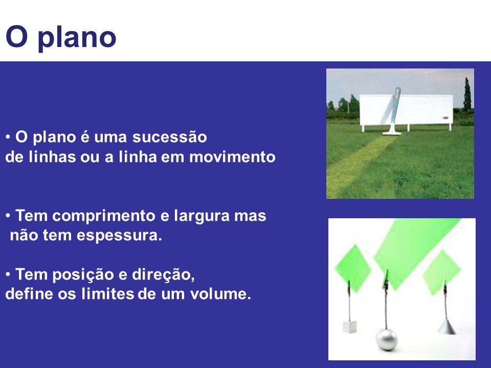 O volume O volume é definido como algo que se expressa nas três dimensões do espaço Pode ser físico ou criado por meio de artifícios e efeitos visuais Tem posição no espaço e é limitado por planos.
