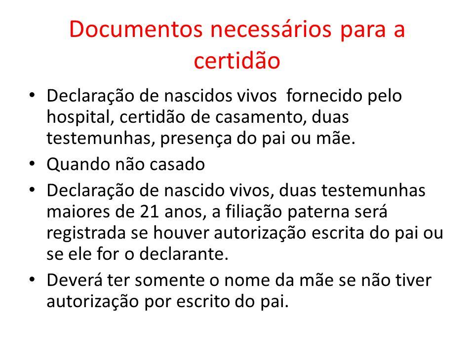Documentos necessários para a certidão Declaração de nascidos vivos fornecido pelo hospital, certidão de casamento, duas testemunhas, presença do pai