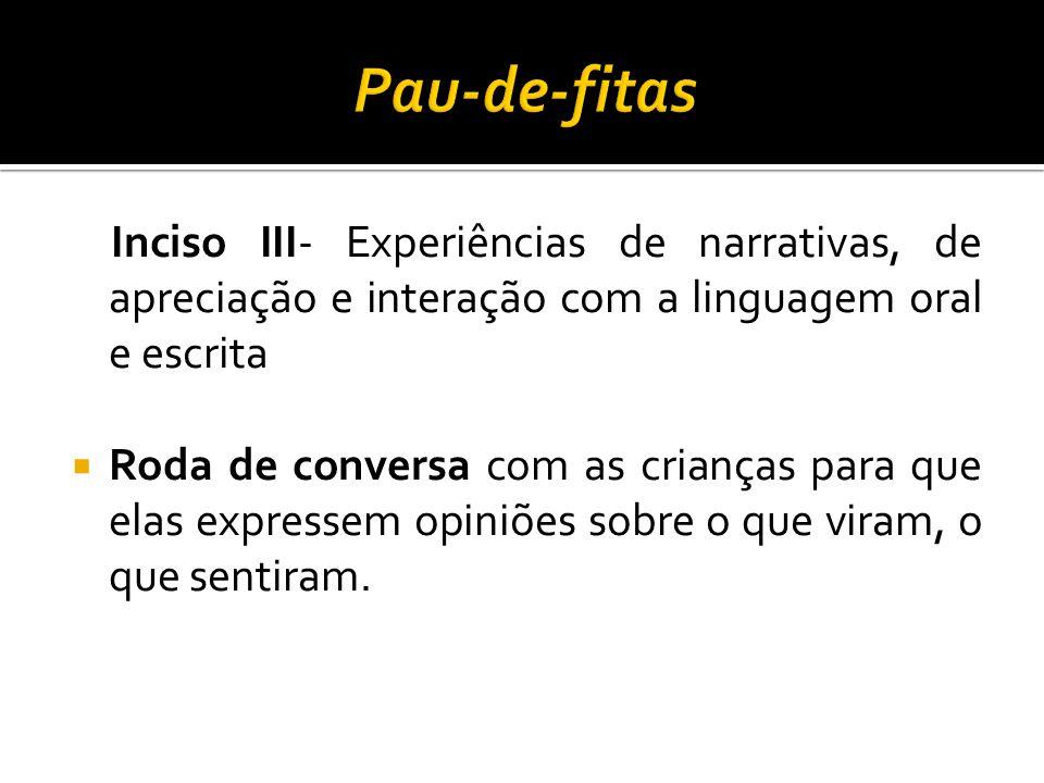 Inciso III- Experiências de narrativas, de apreciação e interação com a linguagem oral e escrita  Roda de conversa com as crianças para que elas expr
