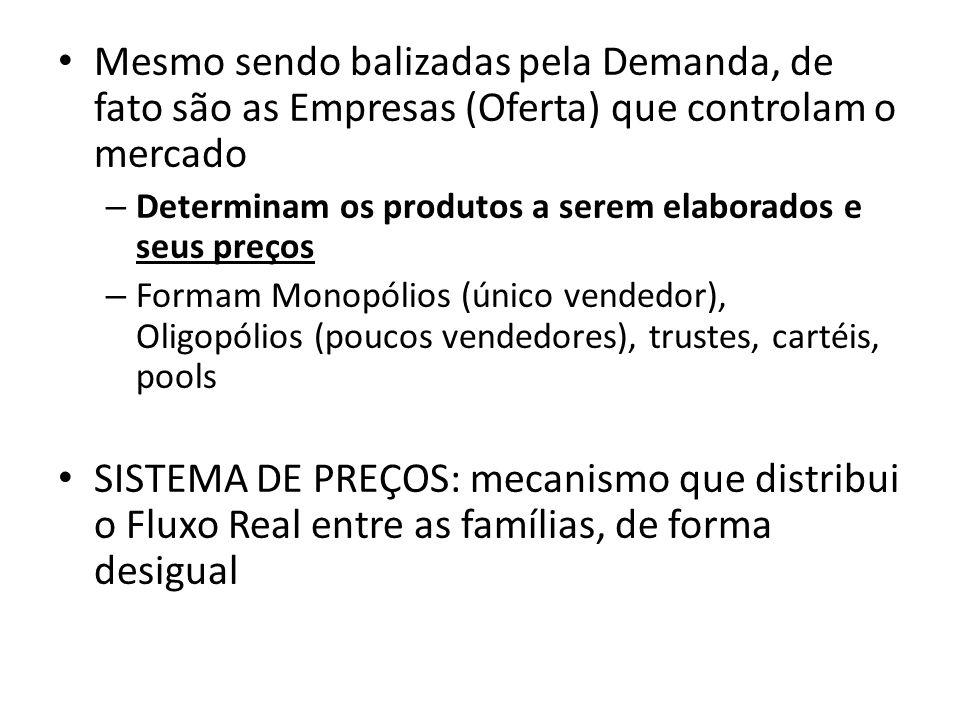 Mesmo sendo balizadas pela Demanda, de fato são as Empresas (Oferta) que controlam o mercado – Determinam os produtos a serem elaborados e seus preços – Formam Monopólios (único vendedor), Oligopólios (poucos vendedores), trustes, cartéis, pools SISTEMA DE PREÇOS: mecanismo que distribui o Fluxo Real entre as famílias, de forma desigual