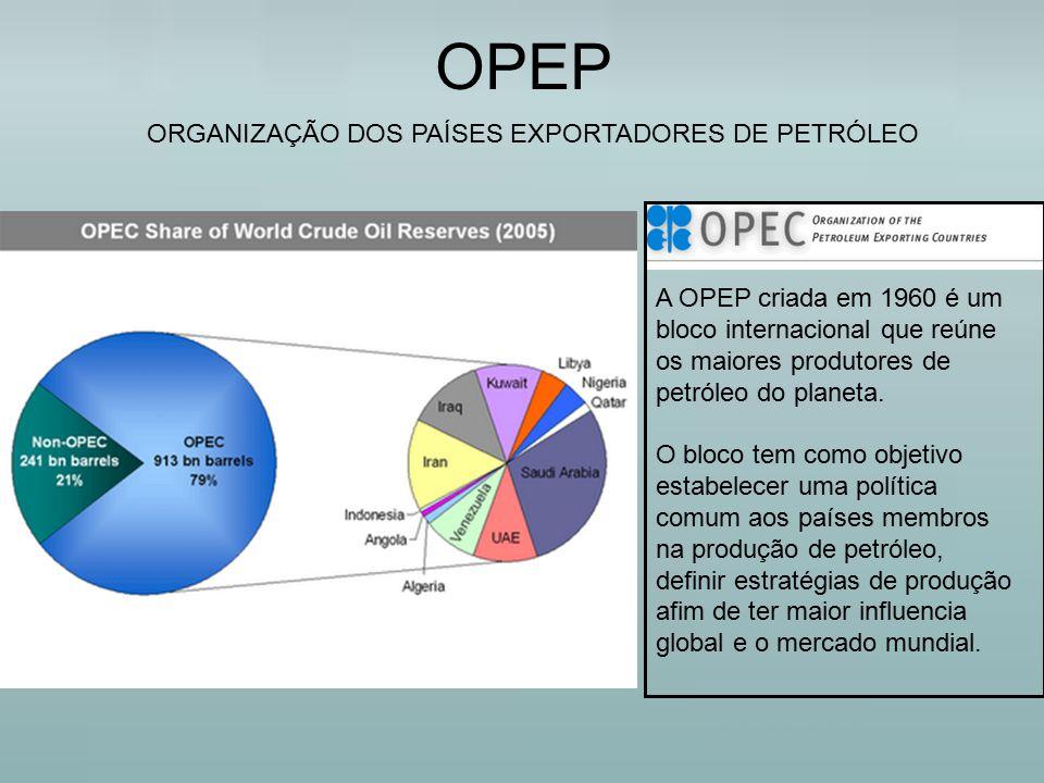 OPEP ORGANIZAÇÃO DOS PAÍSES EXPORTADORES DE PETRÓLEO A OPEP criada em 1960 é um bloco internacional que reúne os maiores produtores de petróleo do pla