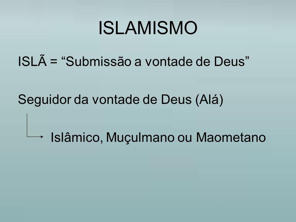 """ISLAMISMO ISLÃ = """"Submissão a vontade de Deus"""" Seguidor da vontade de Deus (Alá) Islâmico, Muçulmano ou Maometano"""