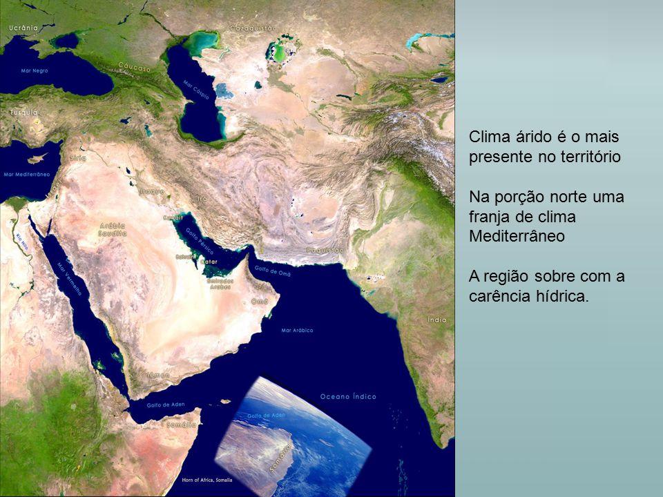 Clima árido é o mais presente no território Na porção norte uma franja de clima Mediterrâneo A região sobre com a carência hídrica.