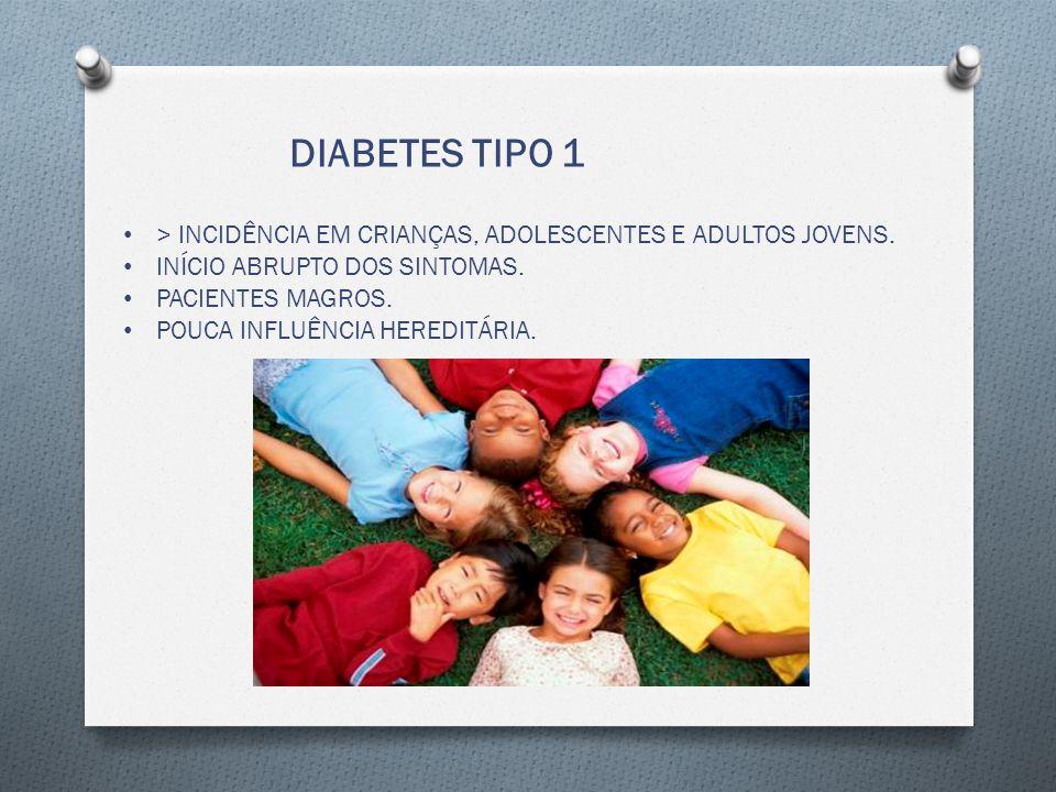 DIABETES TIPO 1 > INCIDÊNCIA EM CRIANÇAS, ADOLESCENTES E ADULTOS JOVENS.