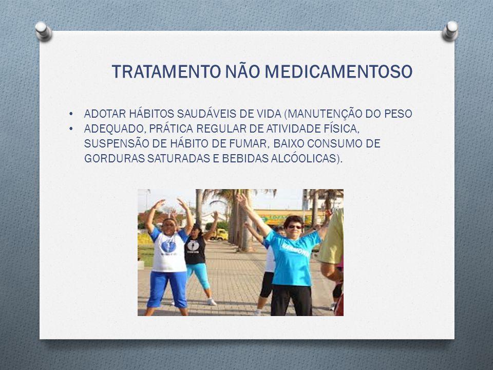 TRATAMENTO NÃO MEDICAMENTOSO ADOTAR HÁBITOS SAUDÁVEIS DE VIDA (MANUTENÇÃO DO PESO ADEQUADO, PRÁTICA REGULAR DE ATIVIDADE FÍSICA, SUSPENSÃO DE HÁBITO DE FUMAR, BAIXO CONSUMO DE GORDURAS SATURADAS E BEBIDAS ALCÓOLICAS).